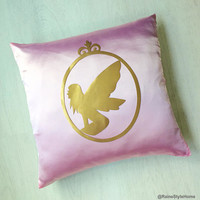 Hand Cut Gold Fairy Silhouette Cameo Decorative Pink Pillow Cover. Fairy Tale Inspired Cushion Cover. Pink And Gold Girls Room Nursery Decor
