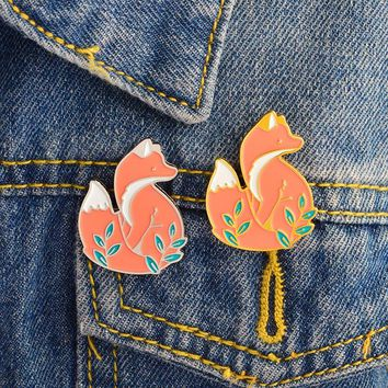 XEDZ New Fashion Golden/Silver Wit Fox Enamel Brooch Women Jeans Denim Jackets Lapel Pin Cute Cartoon Animal Fox Brooch Badge