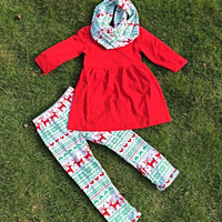 PERSONALIZED Girls Christmas Outfit, Christmas Top and Pants, Christmas Leggings, Girls Christmas Scarf, Christmas Boutique Outfit, Reindeer
