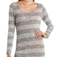 Zipper-Back Striped Hacci Tunic Sweater