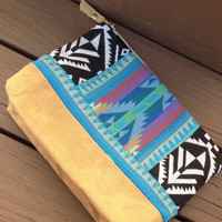 Best selling cosmetic bag, aztec tribal make up bag, waxed canvas