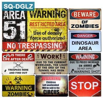 [SQ-DGLZ] BEWARE OF ZOMBIES & AREA 51 Metal Sign Wall Decor Tin Sign Vintage Metal Signs Home Decor Painting Plaques Art Poster