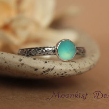 Ocean Blue Chalcedony Bezel-Set Solitaire with Geometric Sterling Band, Renaissance Diamond Promise Ring or Engagement Ring, Choice of Stone