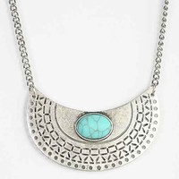 In Half Stone Pendant Necklace- Silver One