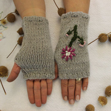 Hand Knitted Fingerless Gloves, Female gray gloves , Flower embroidered gloves,Turkish handicrafts, Gift Ideas, For Her, Winter Accessories,