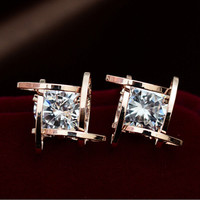 Fashion Style Women Lady Elegant Square Crystal Rhinestone Ear Stud Earrings  + Gift Box