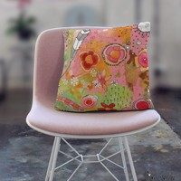 Floral Throw Pillow 'Pink Feathers, Flowers, Showers 02'