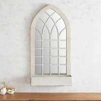 Whitewashed Arch Mirror with Shelf