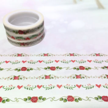 3 rolls Roses washi tape 5M x 7mm red rose blossom red flower florist slim sticker rose garden planner rose heart gift wrapping diary gift