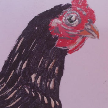 chicken   Aceo   Original Acrylic painting  Hen  art  Birds    Painting   Aceo size 6.40 / 8.96 cm / .2.5 x 3.5 Inch