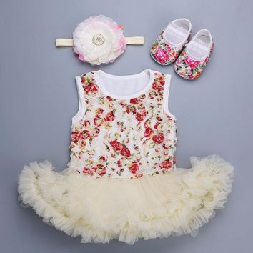 Girls vestido infantil Rosette Baby Dress Diamond Headband shoes sapato set,Flower Girl princess baby clothes Shoes Set