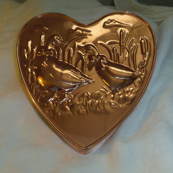 Heart Shaped Copper Mold Tin Lined Geese Rustic Farmhouse Kitchen Decor