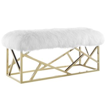 Intersperse Bench Luxurious Genuine Sheepskin / Gold