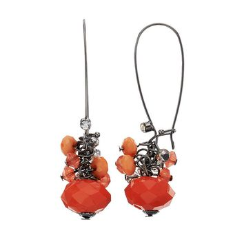 Simply Vera Vera Wang Bead Cluster Drop Earrings (Red)