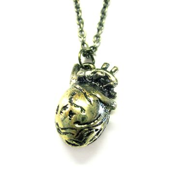 Gold Toned Anatomical Heart Necklace
