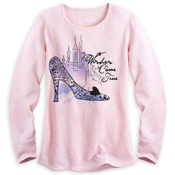 Licensed cool CINDERELLA WISHES COME TRUE Long Sleeve Thermal Tee for Women Disney Store Small