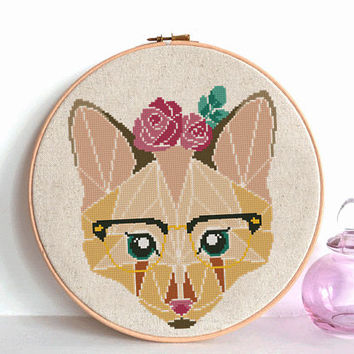 Geometric Wild Fox Cross Stitch pattern, Fox Pattern, Mountain Forest Woodland Animals, Modern Cross Stitch, Animal Cross Stitch flower