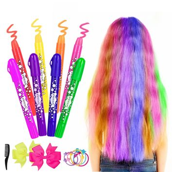 ETEREAUTY Hair Chalk Set 8 Colors Non Toxic Washable Temporary Hair Dye Rainbow Hair Color for Kids and Teens with Bow Hair Tie and Comb