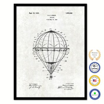 1925 Hot Air Balloon Vintage Patent Artwork Black Framed Canvas Print Home Office Decor Great Gift for Hot Air Balloon Lover