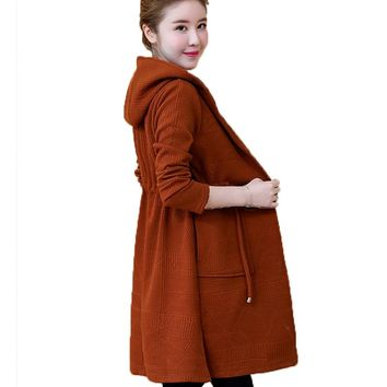 Sweater Knitted Coat Female long Section of the New 2018 Spring and autumn long-sleeved Women Wool Cardigan joker Christmas LJ17