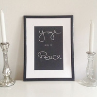 Yoga gives me Peace - silver on black - DIN A4 - Yoga Wall Art Print handmade written - original by misssfaith