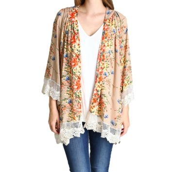 Umgee Taupe Flower Bomb Kimono with Lace Trim