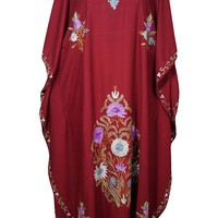 Mogul Womens Kashmiri Caftan Floral Embroidered Cover Up Kaftan Evening Maxi Dress: Amazon.ca: Clothing & Accessories