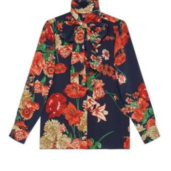 Gucci Spring bouquet silk shirt