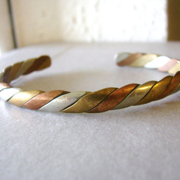 Vintage silver, brass and copper twisted cuff bracelet