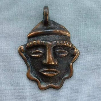Tribal Face Aztec Copper Necklace Pendant Vintage Jewelry