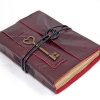 Deep Cherry Red Leather Journal with Tea Stained Paper and Heart Key Bookmark