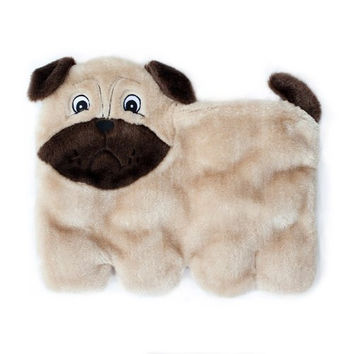 ZippyPaws Squeakie Pup 11-Squeaker No Stuffing Plush Dog Toy, Pug