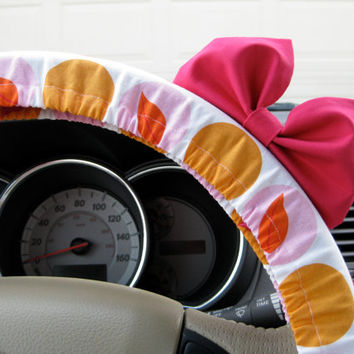 Steering Wheel Cover Bow - The Original Birthday Cake Orange and Pink Steering Wheel Cover with Hot Pink Bow