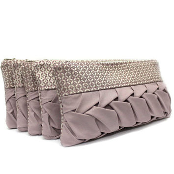 Set of 5 Bridesmaid Clutch, Powder Pink Clutch, Bridal Clutch Purse, Wedding Party Gift, Pink Bridesmaid Bag, Evening Clutch Purse