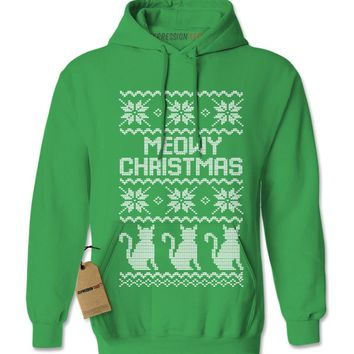 Meowy Christmas Ugly Christmas Sweater Adult Hoodie Sweatshirt
