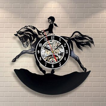 3D Record Clock Horsewoman Vinyl Record Hanging Wall Clock Creative Horse and Woman Design Wall Clock Antique Room Decor Clock