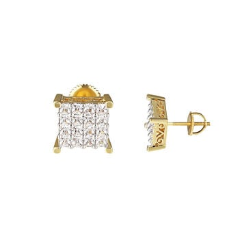 Princess Cut Square Earrings 14k Gold Finish Prong Set Screw On Mens Womens 10mm