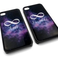 Friendship Best Friends Infinity Space Snap-On w/ Hard Cover Carrying Case Set for iPhone 4/4S - Set of 2 Cases (Black)