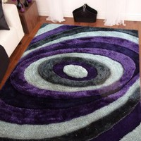 4' ft. x 5'4' ft. Handmade Grey with Purple Shaggy Bedroom Area Rug for Indoor Living Room