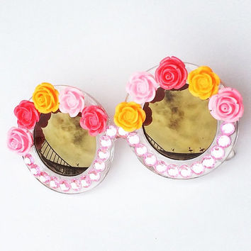 Pink Round Sunglasses Embellished w/ Rhinestones, Roses. Perfect Festival Sunnies!
