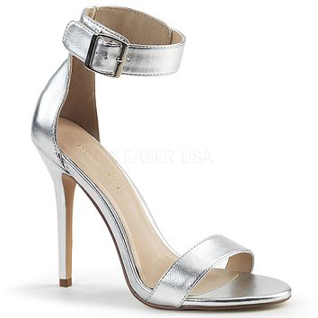 "Amuse 10 Silver Single Sole High Heel Sandals 5"" Heels"