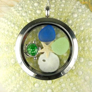Non-Magnetic Turtle Memory Locket GENUINE  Sea Glass Necklace Starfish And Sand Dollar Floating Locket Jewelry