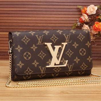 LV Women Shopping Leather Chain Satchel Shoulder Bag Crossbody-3