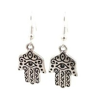 Stainless Steel Dangle Earrings Hamsa Hand Silver Tone