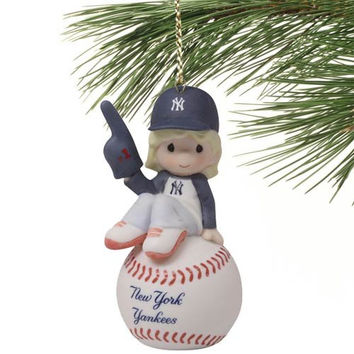 Precious Moments New York Yankees Baseball Girl Ornament