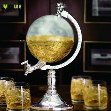 Umiwe High Quality Novelty Globe Shaped Beverage Liquor Dispenser Drink Wine Beer Pump Single Canister Pump Bar Wine Dispenser