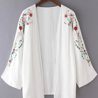 White Long Sleeve Embroidery Cardigan Kimono