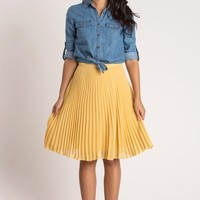Petite Camille Mustard Yellow Pleated Midi Skirt
