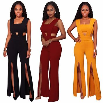 Women Fashion jumpsuit Bodysuit Solid Color Culottes Strapless