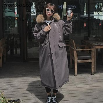Hirsionsan Winter Coat Women 2017 Korean Large Raccoon Fur Hooded X-Long Jacket Thicken Warm Padded Oversized Military Parka